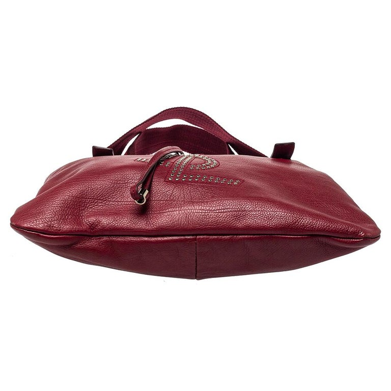 Yves Saint Laurent Maroon Leather Small Kahala Drawstring Tote For Sale 1