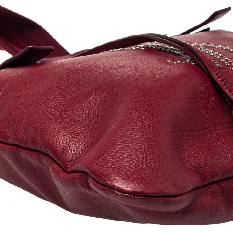 Yves Saint Laurent Maroon Leather Small Kahala Drawstring Tote For Sale 2