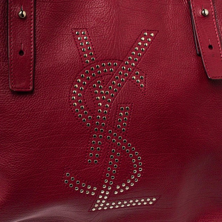 Yves Saint Laurent Maroon Leather Small Kahala Drawstring Tote For Sale 3