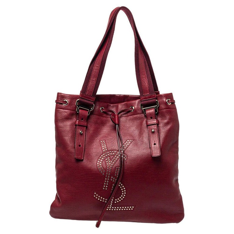 Yves Saint Laurent Maroon Leather Small Kahala Drawstring Tote For Sale