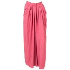 Yves Saint Laurent Maxi Long Pink Silk Skirt