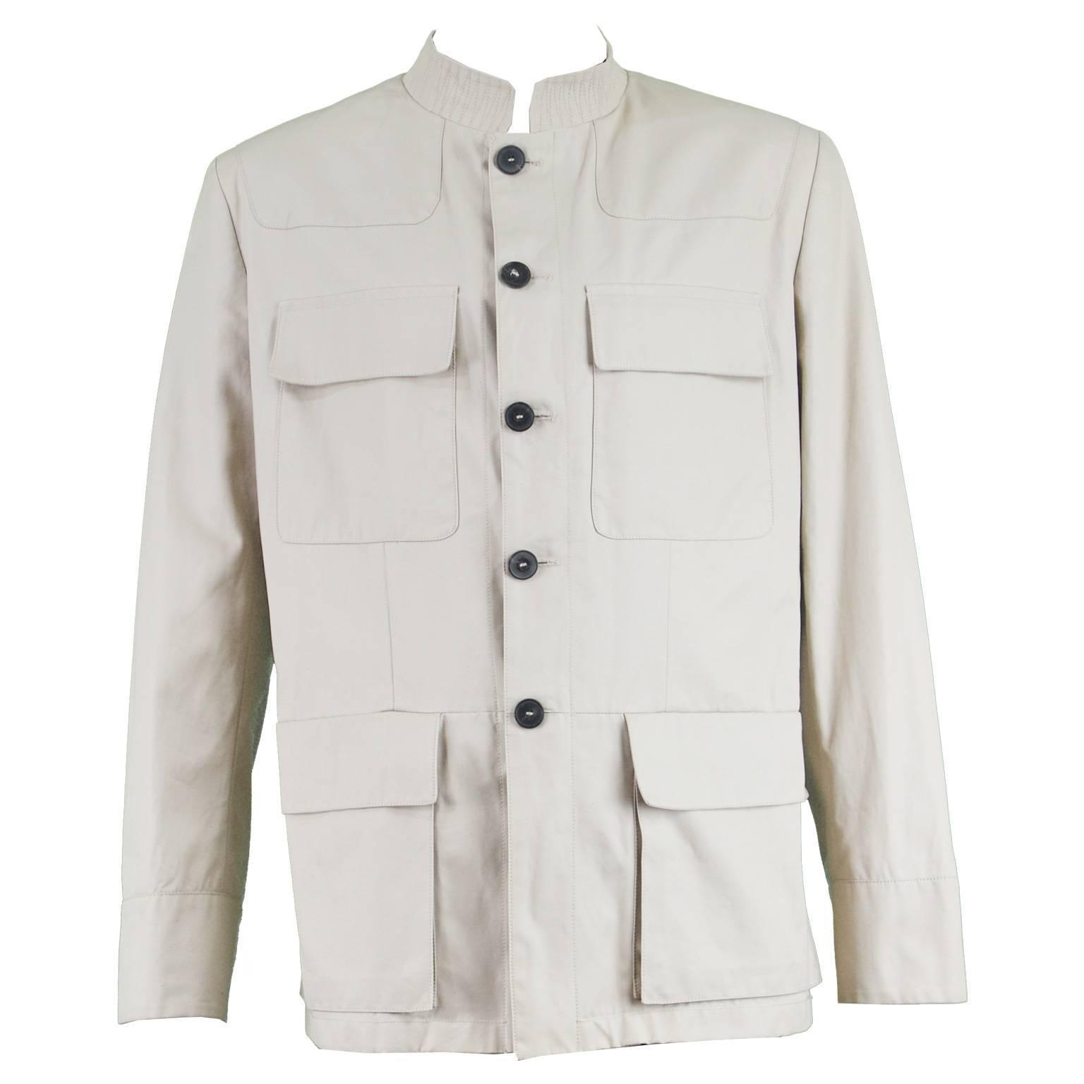 9707c51d65a Yves Saint Laurent Men's Beige Cotton Single Breasted YSL Safari Jacket at  1stdibs