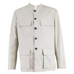 Yves Saint Laurent Men's Beige Cotton Single Breasted YSL Safari Jacket