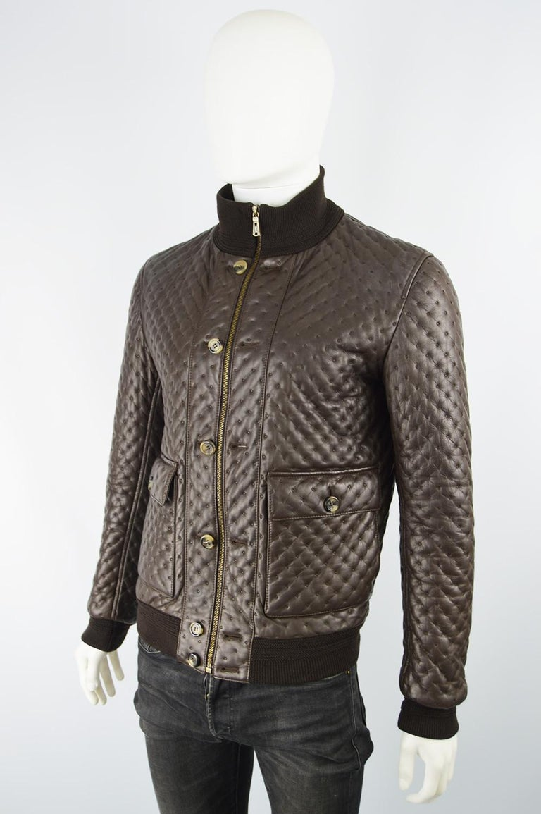 Yves Saint Laurent Men's Chocolate Brown Matelassé Leather Bomber Jacket  In Excellent Condition For Sale In Doncaster, South Yorkshire