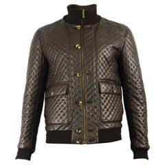 Yves Saint Laurent Men's Chocolate Brown Matelassé Leather Bomber Jacket