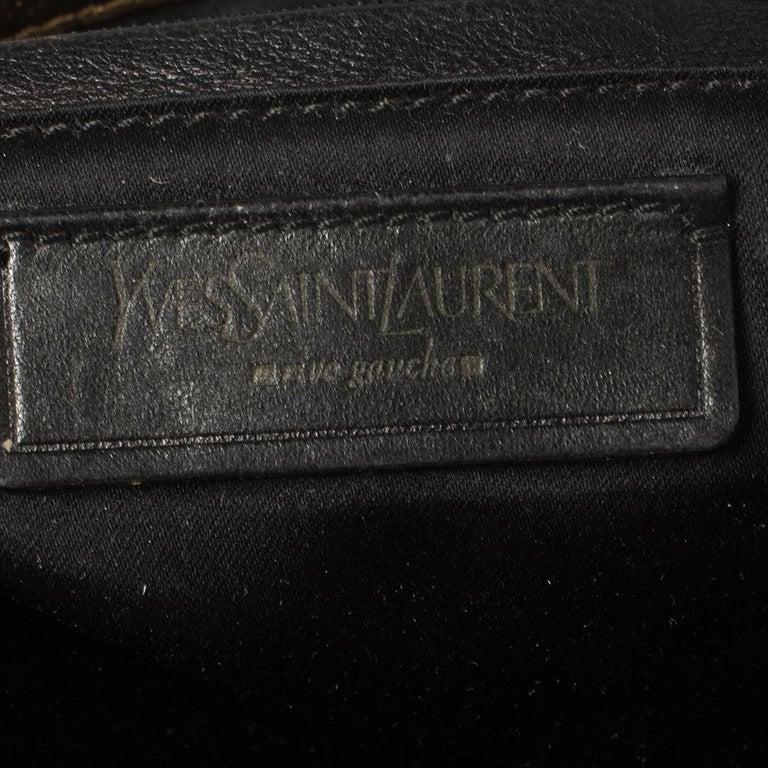 Yves Saint Laurent Metallic Bronze Leather Sac Bow Hobo For Sale 5