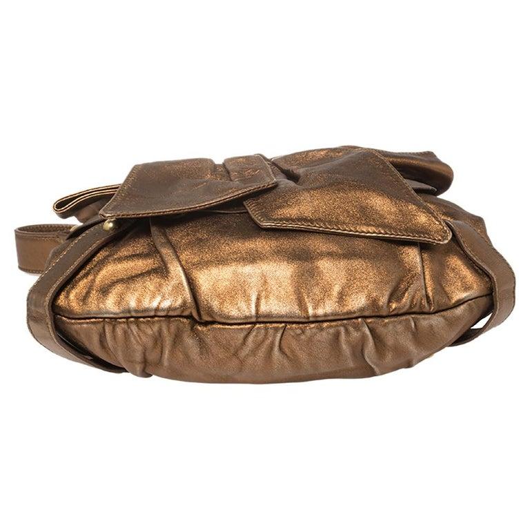 Yves Saint Laurent Metallic Bronze Leather Sac Bow Hobo For Sale 6
