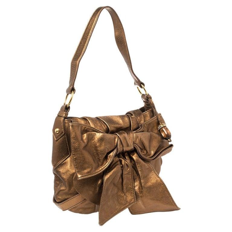 Brown Yves Saint Laurent Metallic Bronze Leather Sac Bow Hobo For Sale