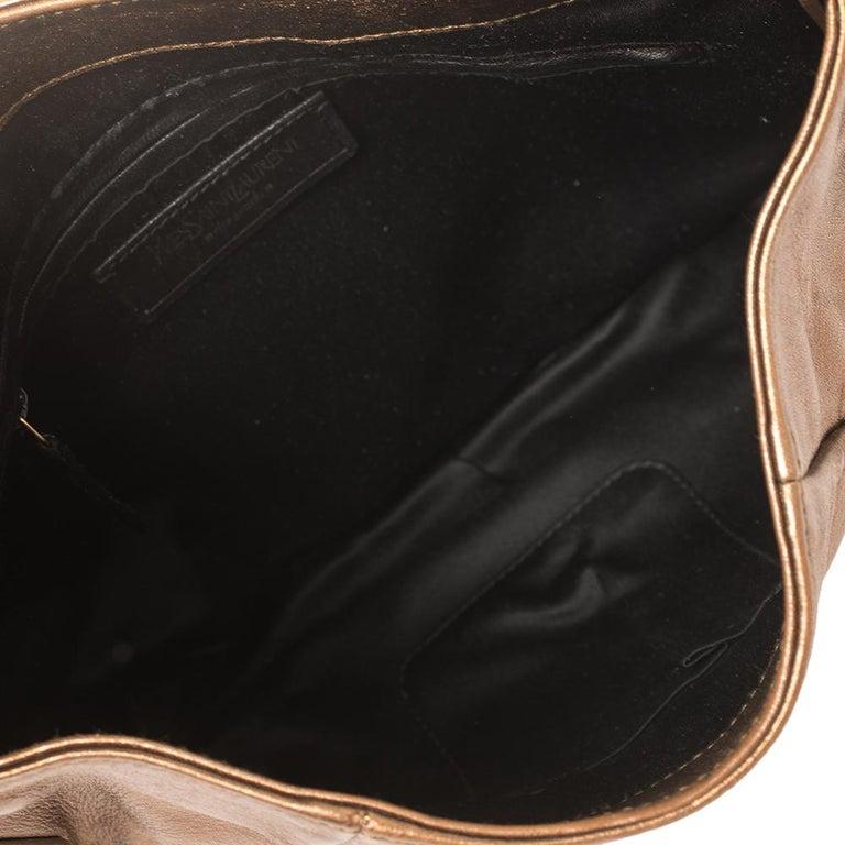 Women's Yves Saint Laurent Metallic Bronze Leather Sac Bow Hobo For Sale
