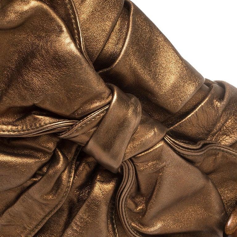 Yves Saint Laurent Metallic Bronze Leather Sac Bow Hobo For Sale 1