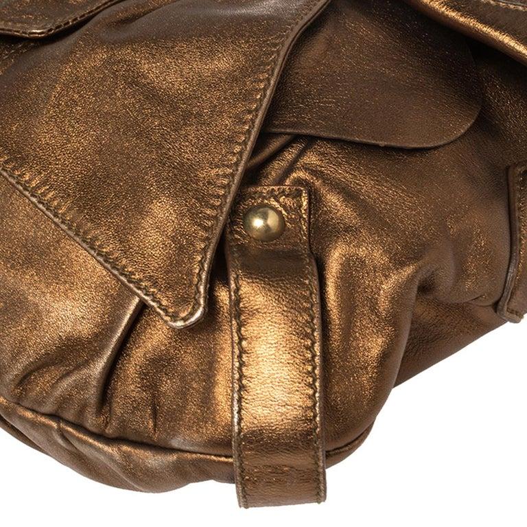 Yves Saint Laurent Metallic Bronze Leather Sac Bow Hobo For Sale 2