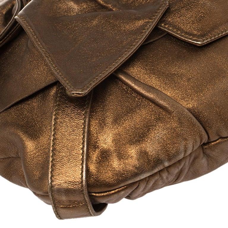 Yves Saint Laurent Metallic Bronze Leather Sac Bow Hobo For Sale 3