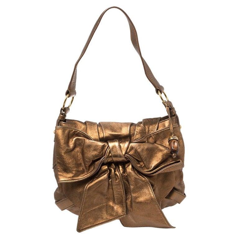 Yves Saint Laurent Metallic Bronze Leather Sac Bow Hobo For Sale