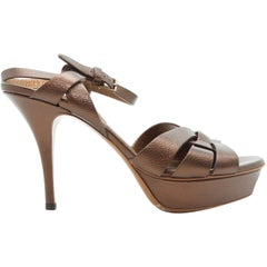 Yves Saint Laurent Metallic Copper Tribute Sandals