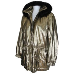 Yves Saint Laurent Metallic Gold Parka Hooded Jacket