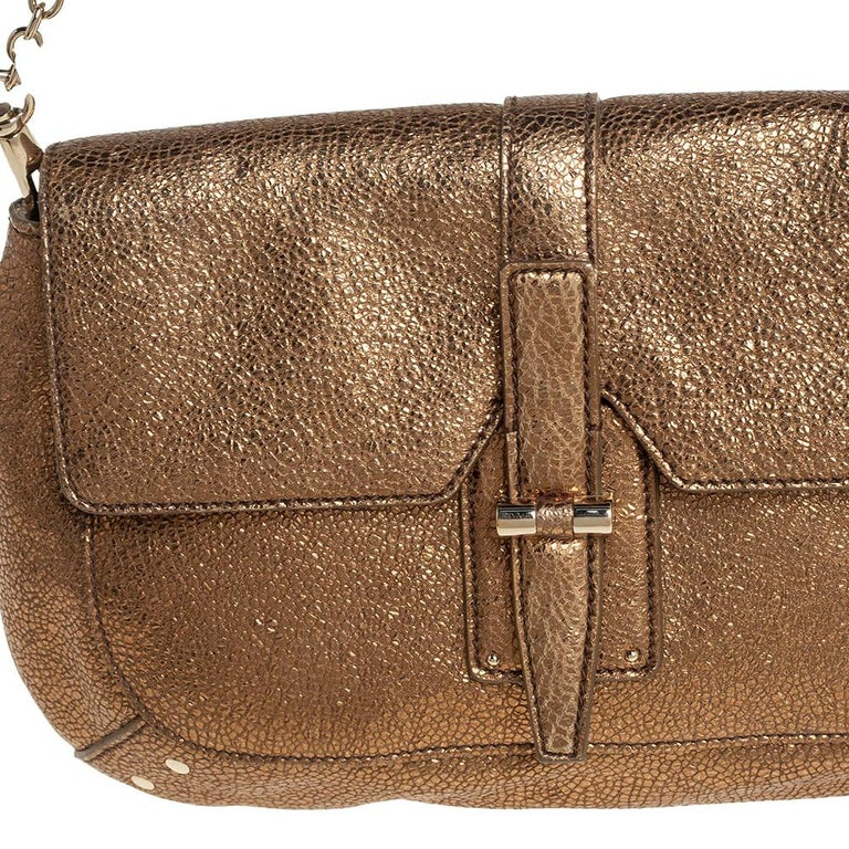 Yves Saint Laurent Metallic Gold Textured Leather Emma Chain Bag For Sale 8