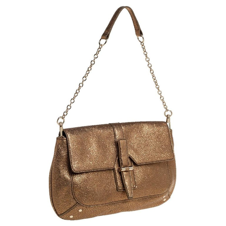 Brown Yves Saint Laurent Metallic Gold Textured Leather Emma Chain Bag For Sale