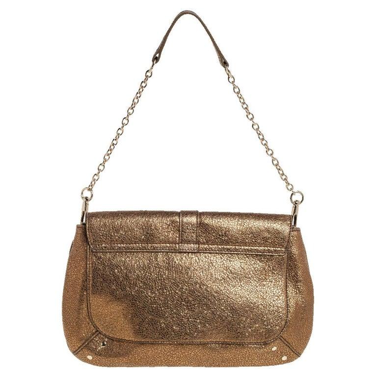 Yves Saint Laurent Metallic Gold Textured Leather Emma Chain Bag In Good Condition For Sale In Dubai, Al Qouz 2
