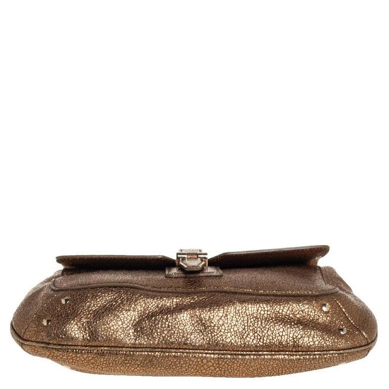Women's Yves Saint Laurent Metallic Gold Textured Leather Emma Chain Bag For Sale