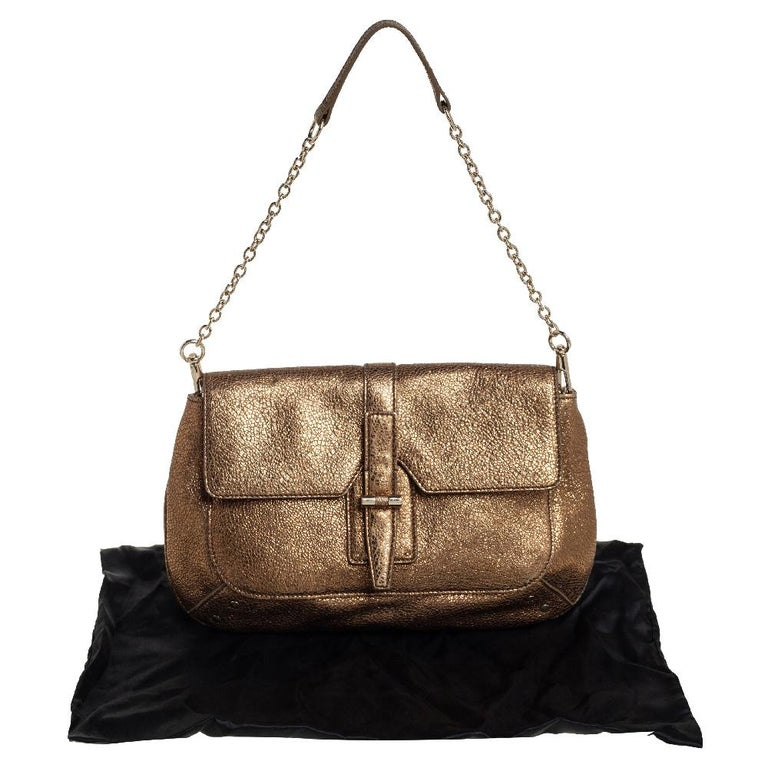Yves Saint Laurent Metallic Gold Textured Leather Emma Chain Bag For Sale 2