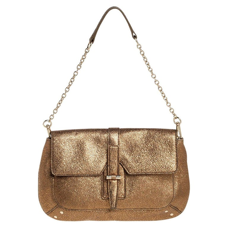 Yves Saint Laurent Metallic Gold Textured Leather Emma Chain Bag For Sale