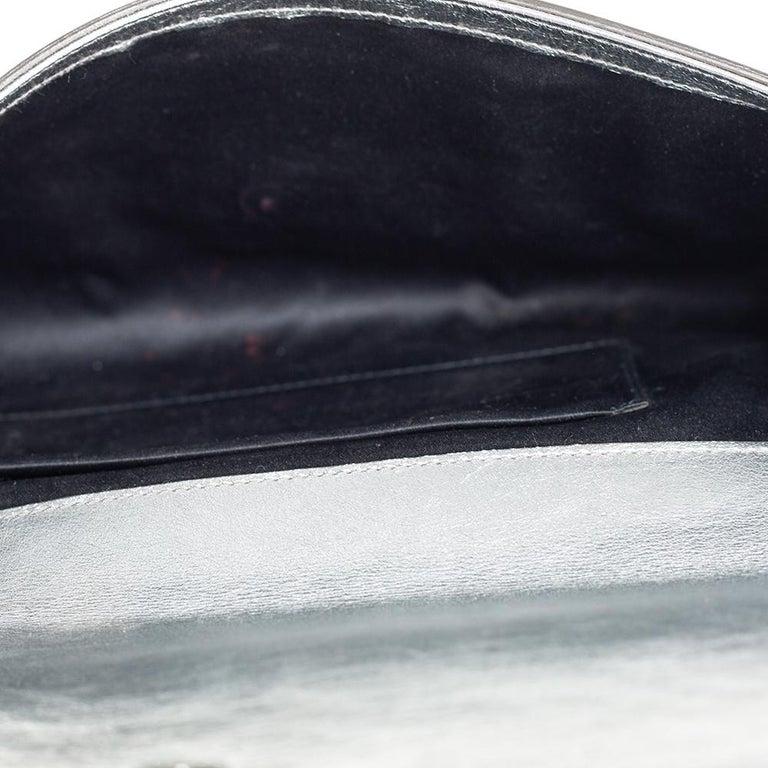 Yves Saint Laurent Metallic Leather Belle De Jour Flap Clutch For Sale 5