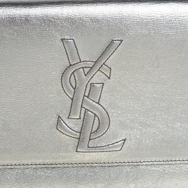 Yves Saint Laurent Metallic Leather Belle De Jour Flap Clutch For Sale 6