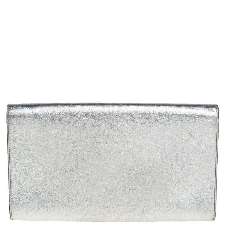 Gray Yves Saint Laurent Metallic Leather Belle De Jour Flap Clutch For Sale