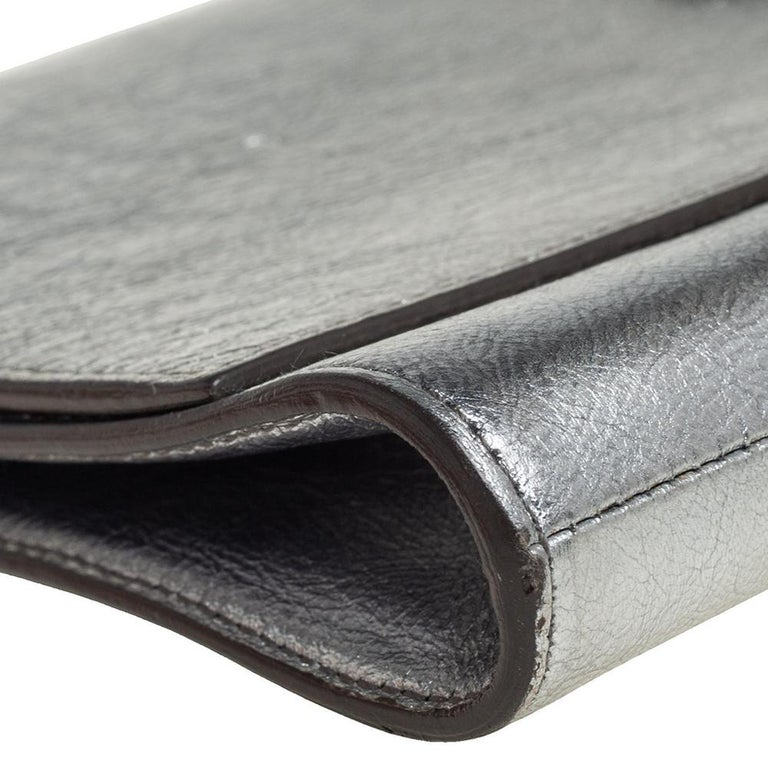 Women's Yves Saint Laurent Metallic Leather Belle De Jour Flap Clutch For Sale