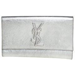 Yves Saint Laurent Metallic Leather Belle De Jour Flap Clutch