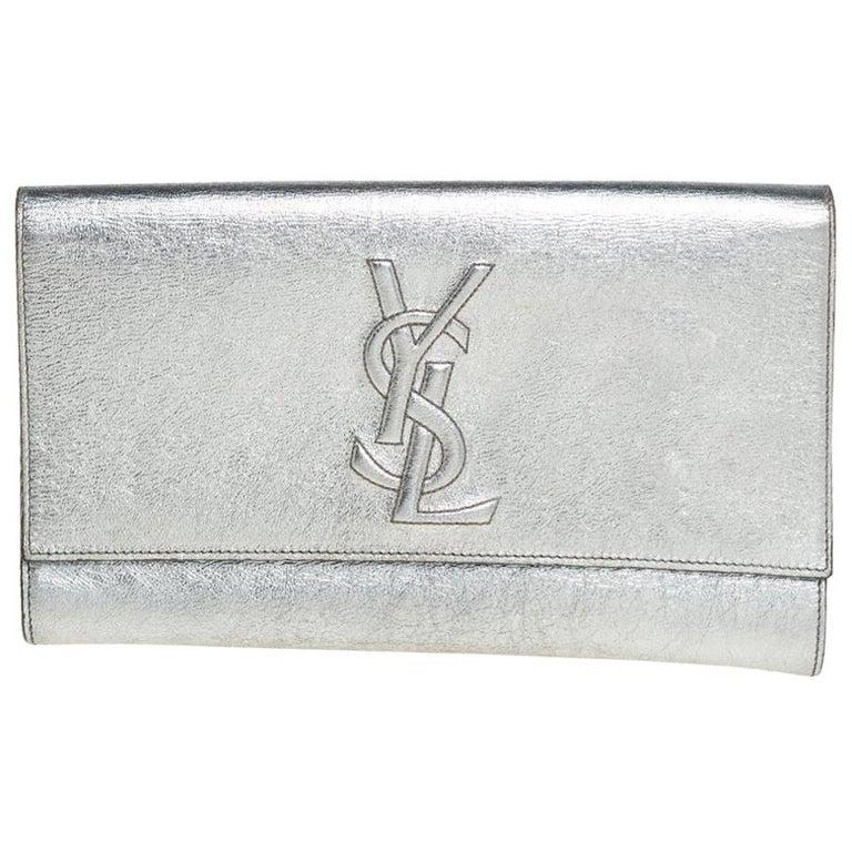 Yves Saint Laurent Metallic Leather Belle De Jour Flap Clutch For Sale