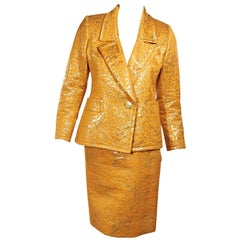 Yves Saint Laurent Metallic Marigold Cotton Brocade Skirt Suit Set
