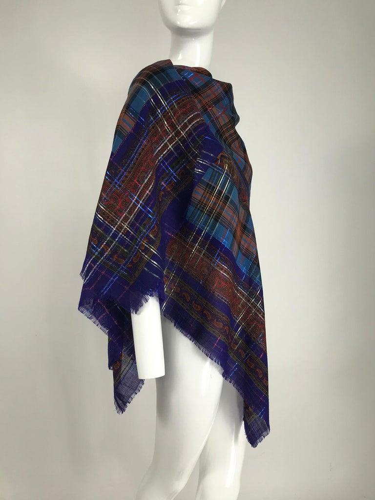 Yves Saint Laurent Metallic Plaid Wool Challis Shawl 54 x 54 In Good Condition For Sale In West Palm Beach, FL