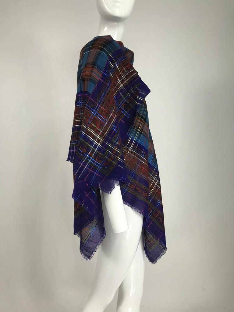 Women's or Men's Yves Saint Laurent Metallic Plaid Wool Challis Shawl 54 x 54 For Sale