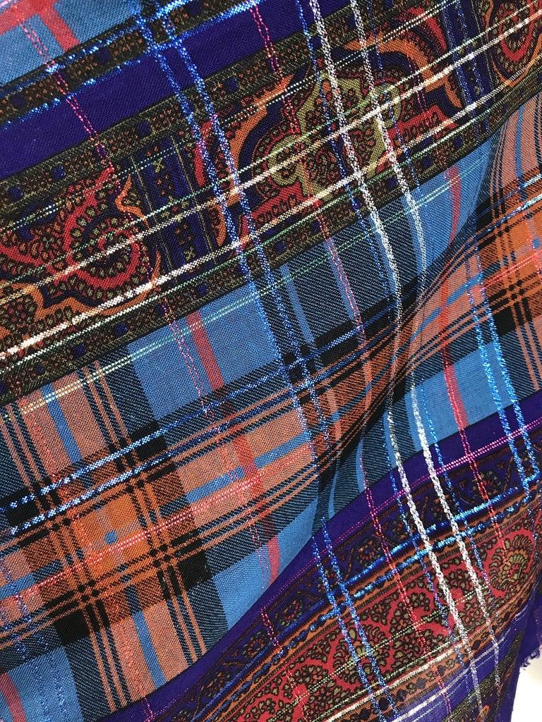 Yves Saint Laurent Metallic Plaid Wool Challis Shawl 54 x 54 For Sale 1