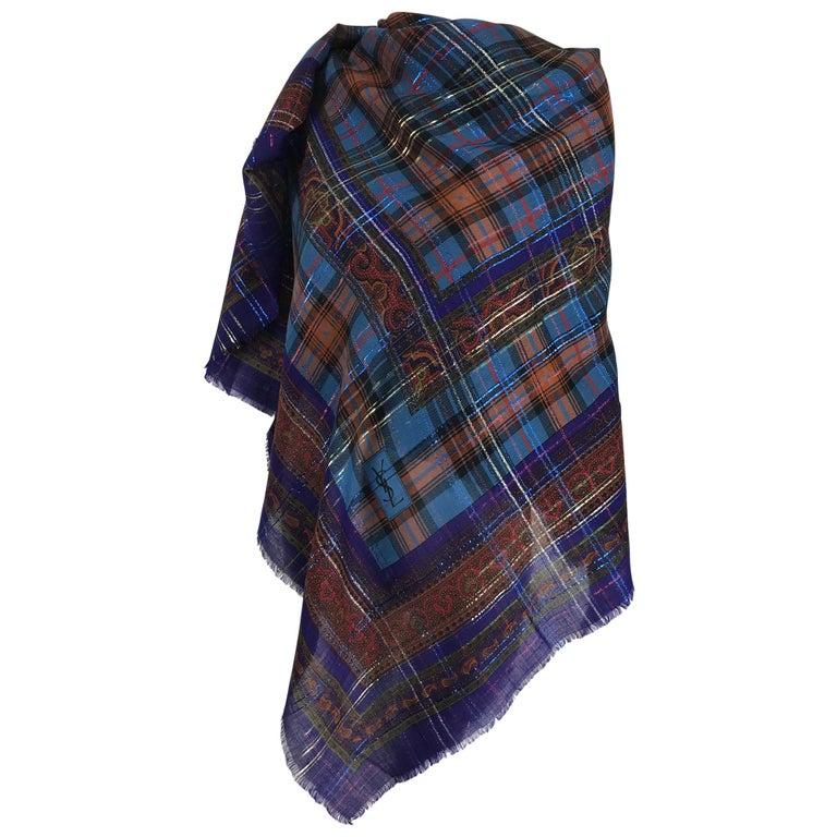 Yves Saint Laurent Metallic Plaid Wool Challis Shawl 54 x 54 For Sale