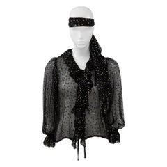 Yves Saint Laurent Metallic Polka Dots Evening Blouse