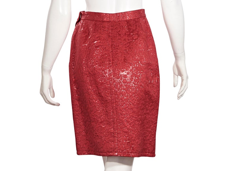 Yves Saint Laurent Metallic Red Brocade Skirt In Good Condition For Sale In New York, NY