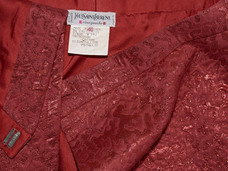 Yves Saint Laurent Metallic Red Brocade Skirt For Sale 1