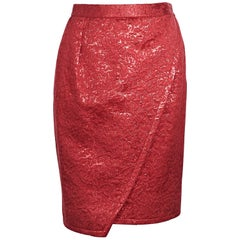 Yves Saint Laurent Metallic Red Brocade Skirt