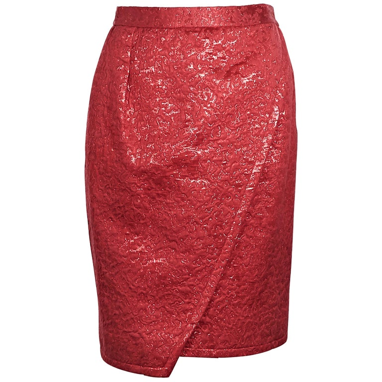Yves Saint Laurent Metallic Red Brocade Skirt For Sale