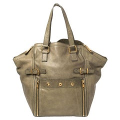 Yves Saint Laurent Military Green Leather Large Downtown Tote