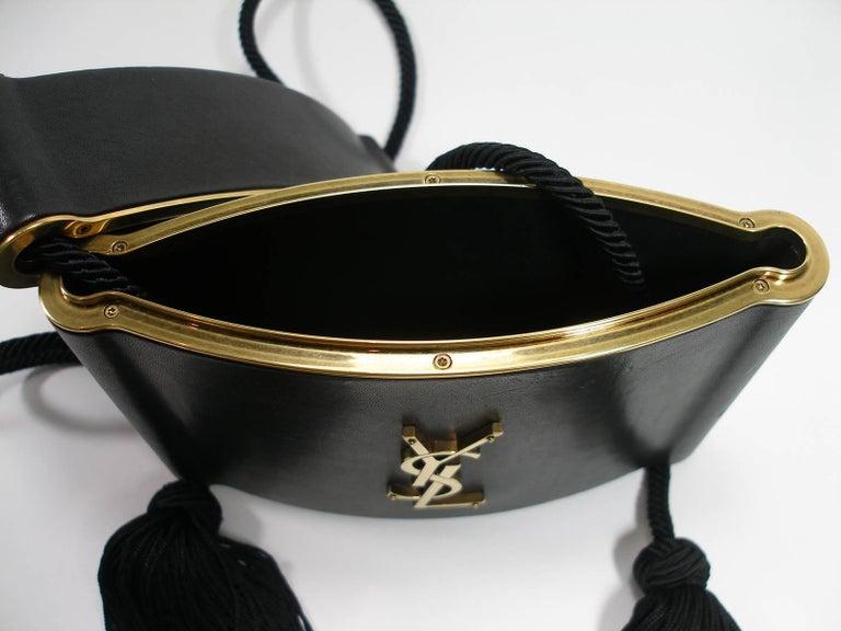 Yves Saint Laurent Minaudière à Pompons cuir et métal doré  For Sale 7