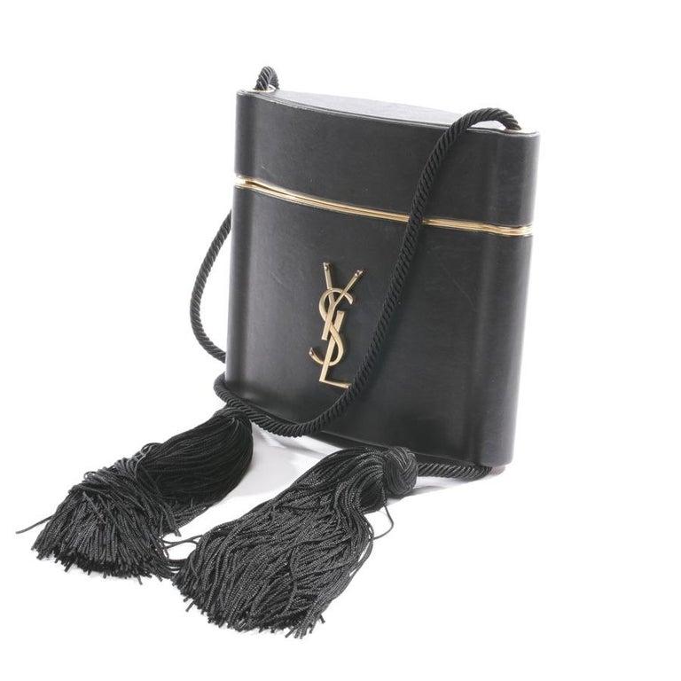 Women's Yves Saint Laurent Minaudière à Pompons cuir et métal doré  For Sale