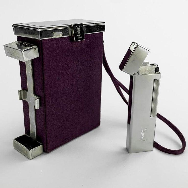 Black YVES SAINT LAURENT Minaudière in Purple Fabric and Metal For Sale