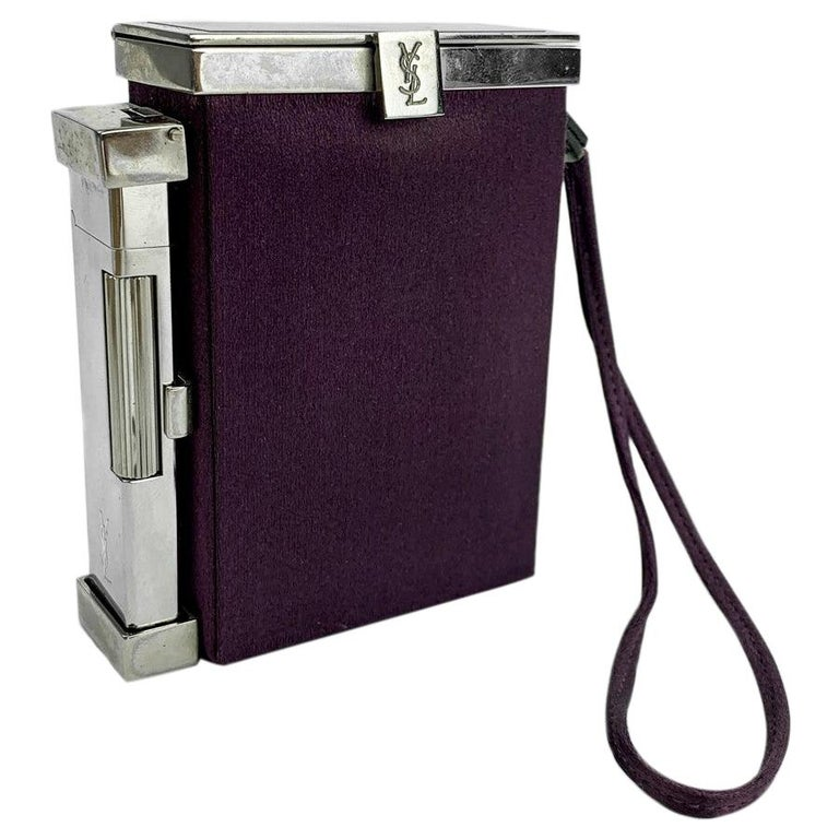YVES SAINT LAURENT Minaudière in Purple Fabric and Metal For Sale