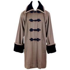 Yves Saint Laurent Mocha Brown Wool & Black Velvet Coat, early 1980s