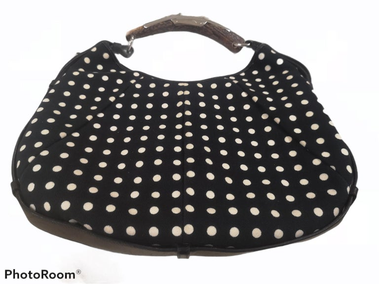Yves Saint Laurent Mombasa Black and white pois shoulder bag In Good Condition For Sale In Capri, IT