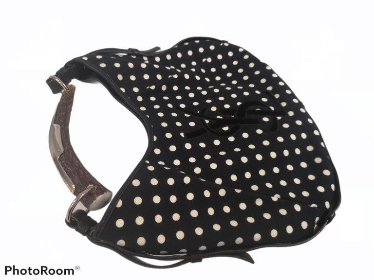 Women's Yves Saint Laurent Mombasa Black and white pois shoulder bag For Sale