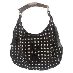 Yves Saint Laurent Mombasa Black and white pois shoulder bag